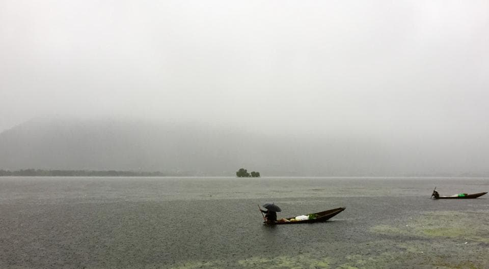 Kashmiri boatman rows his boat in Dal Lake as it rains in Srinagar. (Waseem Andrabi/HT)