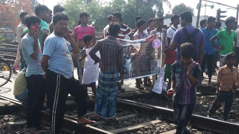 Protesters hold a rail-roko to protest the incidents of rape and murder in Kathua and Unnao.