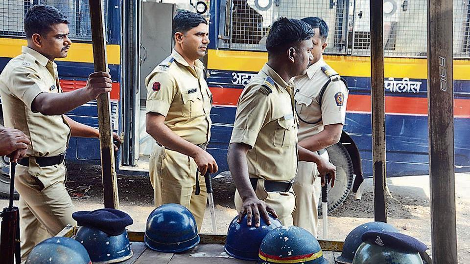 Police force deployed at sensitive pockets after the murder of two cadres of Shiv Sena at Ahmednagar in Pune.