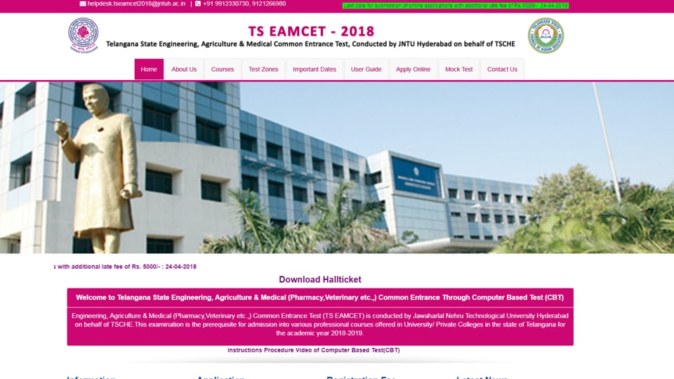 TS EAMCET,TS EAMCET hall ticket 2018,eamcet.tsche.ac.in