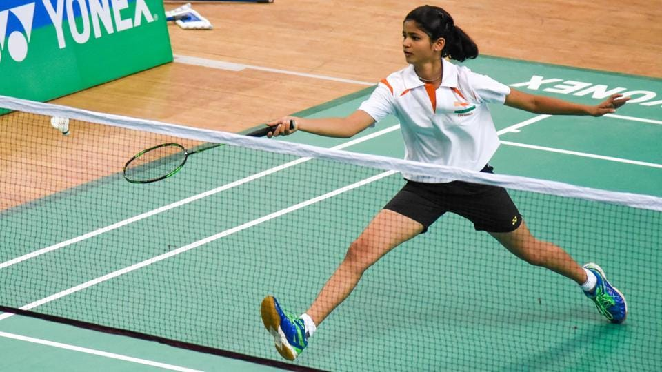 Prerna Alvekar in action at the World School Badminton Championship held at Shiv Chhatrapati sports complex, Balewadi, on Friday.