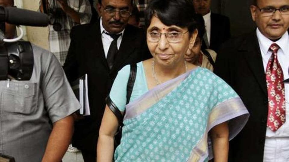 Former Gujarat minister and BJP leader Maya Kodnani exits a court in Ahmedabad.
