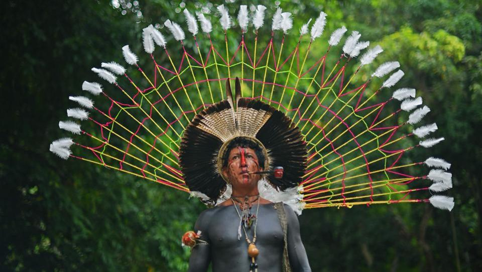 Txoutlaka, of the Fulni-o tribe, poses for a picture in Rio de Janeiro, Brazil, on April 14, 2018. Brazil celebrates Indian Day every April 19 honouring the indigenous peoples and their culture. (Carl De Souza / AFP)
