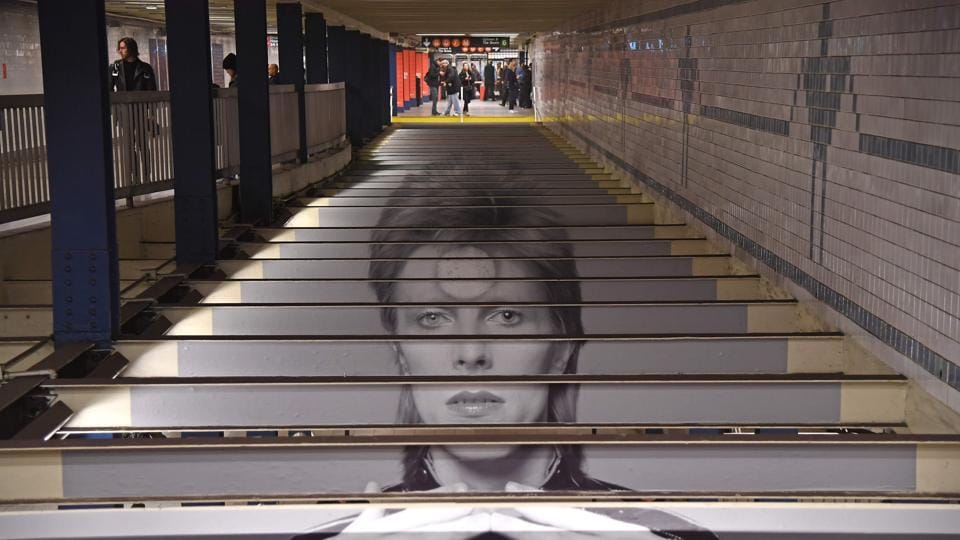 The track entrance of the Broadway-Lafayette station, a short walk from where London-born rocker David Bowie lived his final years.