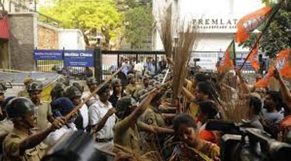 File picture of BJPworkers agitating in front of the State Election Commission office in Kolkata.