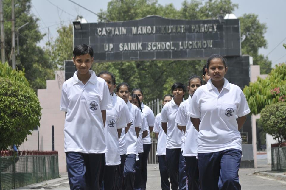 "The UP Sainik School in Lucknow lost its all-boys institution tag on Friday when it admitted 15 girl cadets for the first time in 57 years. Principal Col Amit Chatterjee said the girl cadets, who have ""a dream to join the country's armed forces, formally attended the first lesson"". (Deepak Gupta/HT Photo)"
