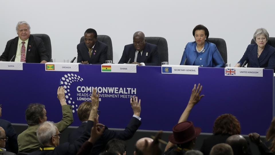 Journalists put their hands up to ask questions during the closing press conference for the Commonwealth Heads of Government Meeting (CHOGM) at Marlborough House in London on Friday.