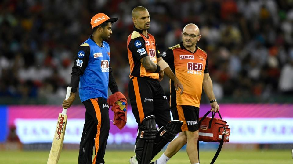Shikhar Dhawan was forced to retire hurt from SRH's previous match against Kings XI Punjab (KXIP) after being hit on the hand on the very first ball he faced from Barinder Sran.