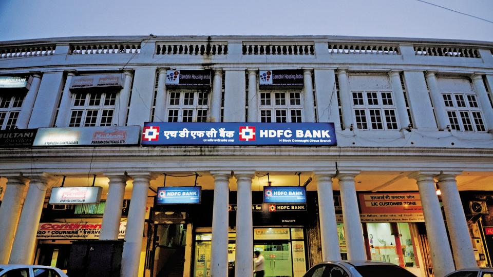 HDFC bank in Connaught place in New Delhi,India.
