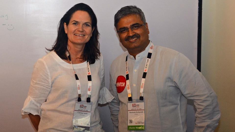 Catriona Smith (left) with her mentor Shashank Deshpande who were a part of nurture program at the TiECon awards function at The Westin, Koregaon Park, on Friday. (SHANKAR NARAYAN/HT PHOTO)