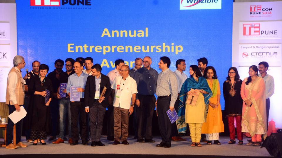 Awardees at the TiECon Annual Entrepreneurship Awards function held at The Westin, Koregaon Park, on Friday. (SHANKAR nARAYAN/HT PHOTO)