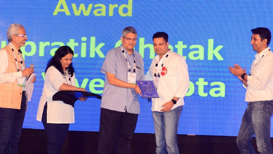 Vivek Gupta (center) was awarded the Missionary Zeal Recognition award at TiECon awards function at The Westin, Koregaon Park, on Friday. (SHANKAR NARAYAN/HT PHOTO)