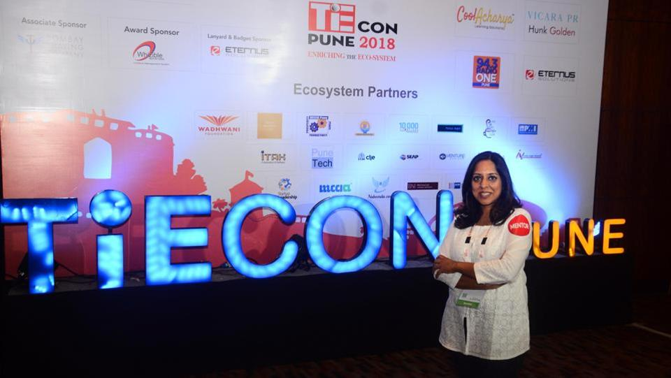 Vandana, organiser of TiECon Pune 2018 at The Westin, Koregaon Park, on Friday. (SHANKAR NARAYAN/HT PHOTO)