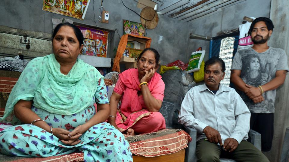 Krishan Kaur (left) and Amarjit Singh (right), mother and brother of Kiran Bala's late first husband, at their home in Garhshankar in Hoshiarpur district on Friday.