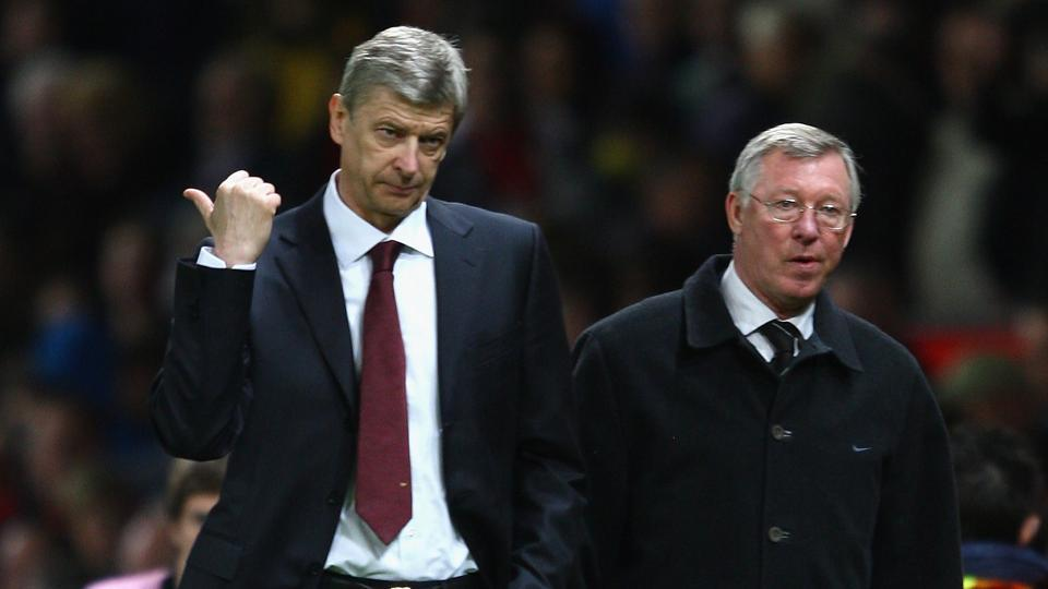 Former Manchester United manager Alex Ferguson (R) has paid glowing tribute to long-time rival Arsene Wenger's managerial reign at Arsenal.