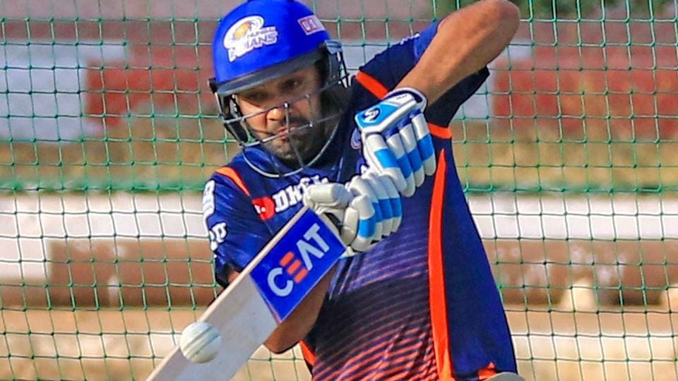 Mumbai Indians (MI)captain Rohit Sharma plays a shot during the practice session ahead of the Indian Premier League (IPL2018)match against Rajasthan Royals (RR)at Sawai Mansingh Stadium in Jaipur on Saturday.