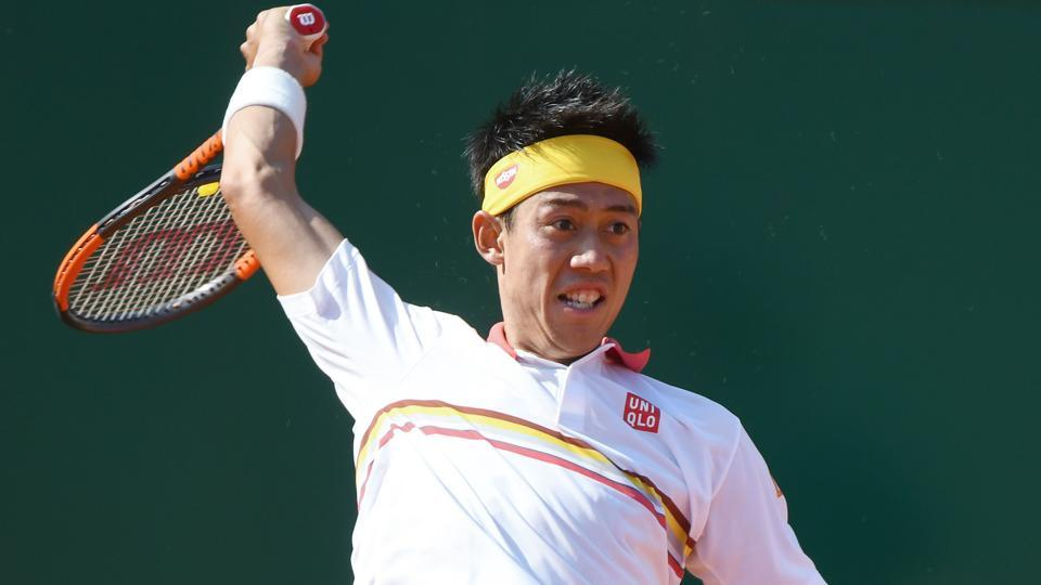 Japan's Kei Nishikori hits a return to Germany's Alexander Zverev during their Monte Carlo Masters match on Saturday.