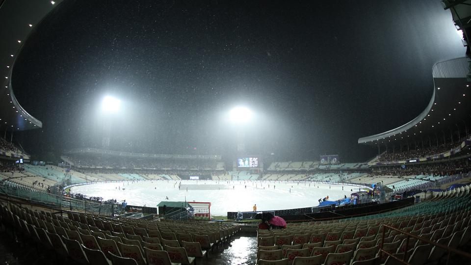 Rain stopped play at the Eden Gardens for 95 minutes after which KXIP were given a revised target of 125 in 13 overs. (BCCI)