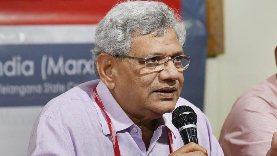 CPI(M) General Secretary Sitaram Yechury addresses the media persons as part of the 22nd Party National Congress in Hyderabad on Thursday.