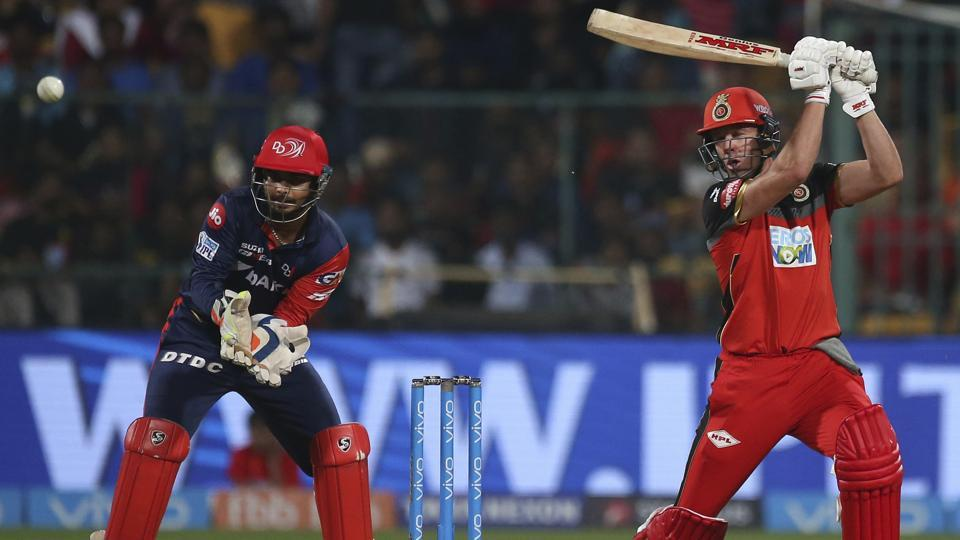 Royal Challengers Bangalore batsman AB de Villiers, right, plays a shot during their IPL 2018 match against Delhi Daredevils on Saturday.