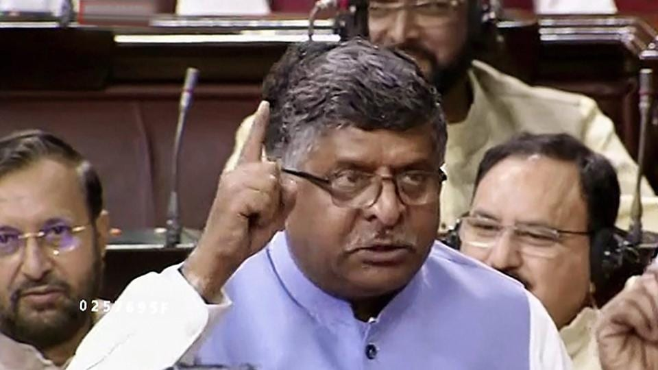 Union law and justice minister Ravi Shankar Prasad speaks in the Rajya Sabha in New Delhi.