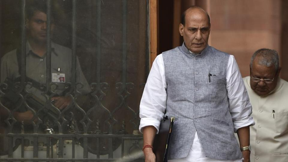 Home minister Rajnath Singh at South Block in New Delhi.