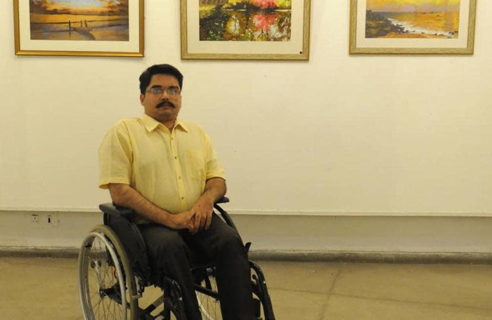 Paraplegic Chandigarh artist,Paraplegic artist,recreating nature