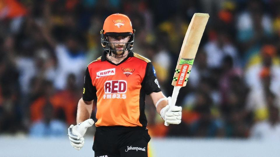 Sunrisers Hyderabad's Kane Williamson raises his bat after scoring a half century during the IPL 2018 match between Sunrisers Hyderabad and Chennai Super Kings at the Rajiv Gandhi International Cricket Stadium in Hyderabad on April 22, 2018.