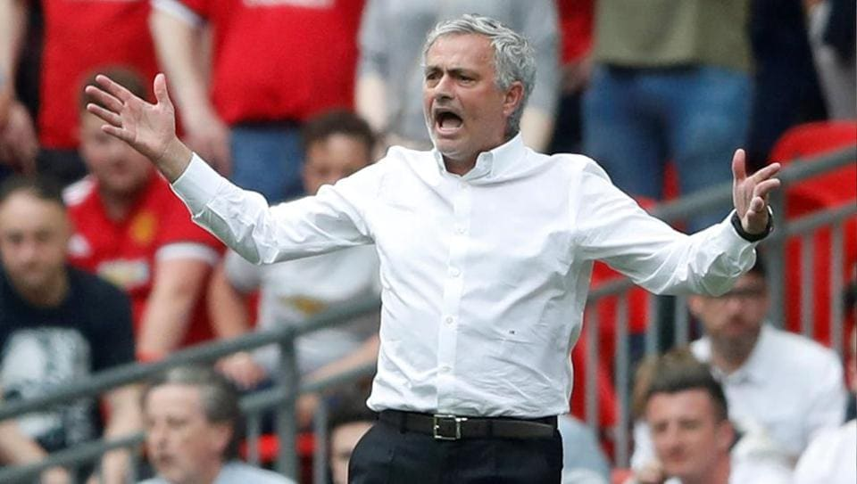 Manchester United manager Jose Mourinho reacts during the club's FA Cup semi-final against Tottenham Hotspur.