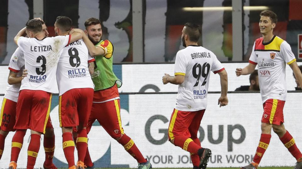 Benevento players celebrate after their side's first goal during a Serie A football  match against AC Milan.
