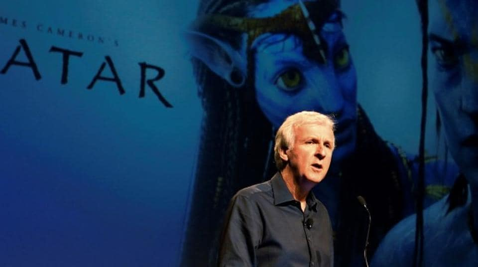 Director James Cameron announce a long-term agreement which will bring Avatar themed lands to Disney parks as he speaks at a media briefing in Glendale, Calfornia.