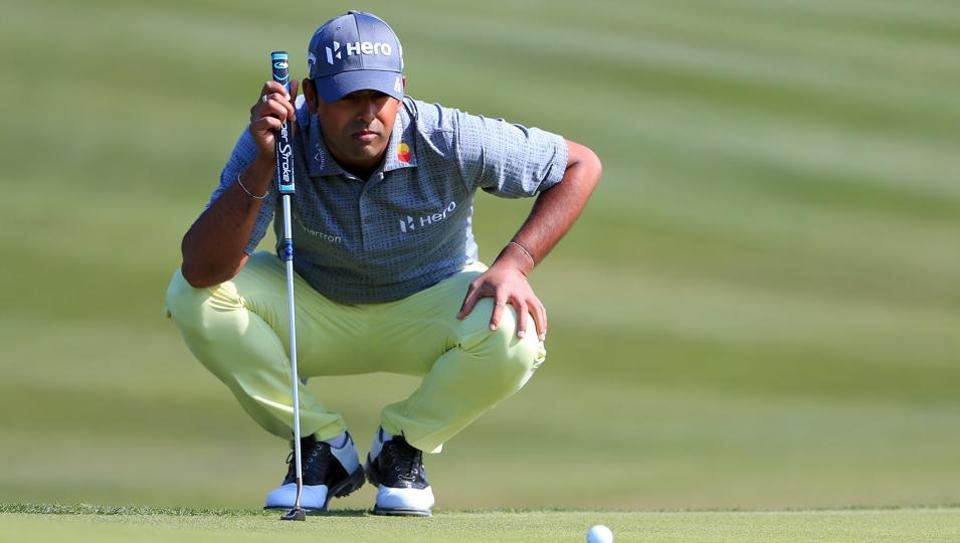 Indian golfer Anirban Lahiri in action at the Texas Open in San Antonio.