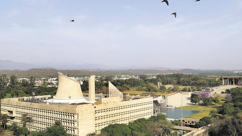 A bird's eye view of the Punjab and Haryana Vidhan Sabha at the Capitol Complex in Sector 1 of Chandigarh.