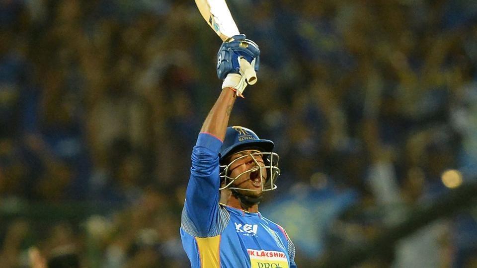 Rajasthan Royals (RR) batsman Krishnappa Gowtham celebrates after hitting the winning runs during their 2018 Indian Premier League (IPL 2018) match against Mumbai Indians (MI)in Jaipur on Sunday.