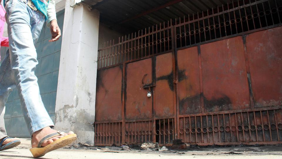 Two men died after a fire broke out in a crockery factory in southwest Delhi's Nawada.