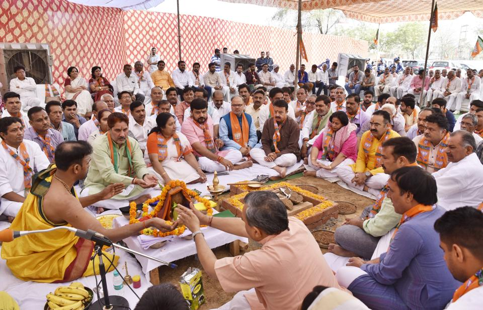 BJP leaders at the ground breaking ceremony for the party office at Silokhra on Monday.