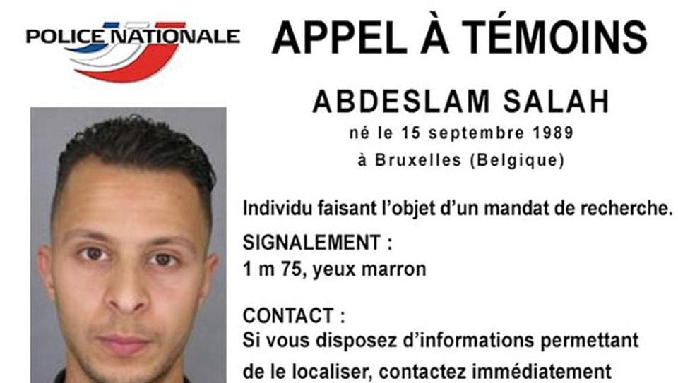 Handout file picture shows Belgian-born Salah Abdeslam on a call for witnesses notice released by the French Police Nationale information services on their twitter account on November 15, 2015.