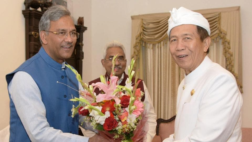 Chief minister Trivendra Singh Rawat with Bali governor I Made Mangku Pastika (right) in Dehradun on Monday.