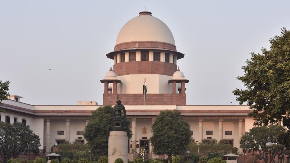A view of Supreme Court at Supreme court Lawn in New Delhi.