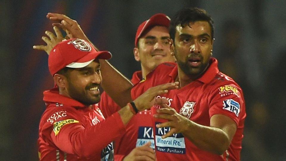 Kings XI Punjab captain Ravichandran Ashwin (R) celebrates with teammates after dismissing Delhi Daredevils batsman Dan Christian during their 2018 Indian Premier League (IPL 2018) match on Monday.