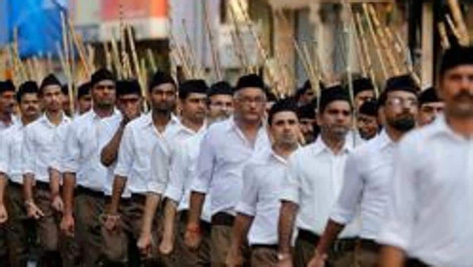 Volunteers of Rashtriya Swayamsevak Sangh in Mumbai.