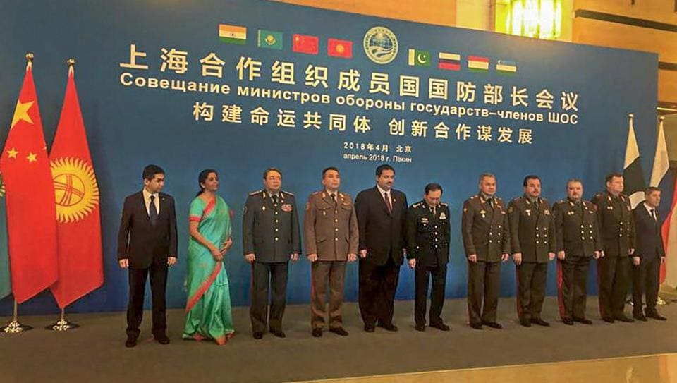 Defence minister Nirmala Sitharaman with other ministers at Shanghai Cooperation Organisation's (SCO) Defence Ministers' meeting in Beijing on Tuesday.