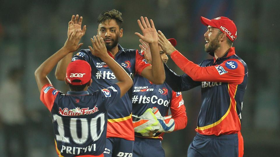 Avesh Khan of the Delhi Daredevils celebrates after taking the wicket of Aaron Finch of Kings XI Punjab during their 2018 Indian Premier League (IPL 2018) match in New Delhi.  (bcci)