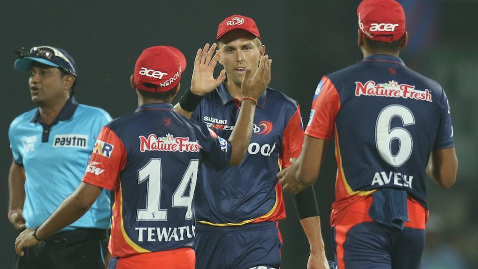 Trent Boult of the Delhi Daredevils celebrates with teammates after taking the wicket of Andrew Tye of Kings XI Punjab on Monday.  (BCCI)