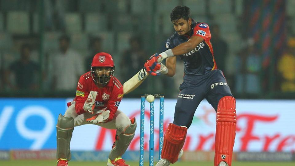 Shreyas Iyer, who almost took Delhi Daredevils to the bring of victory, hits a boundary during the 2018 Indian Premier League (IPL 2018) match against Kings XI Punjab on Monday.  (BCCI)