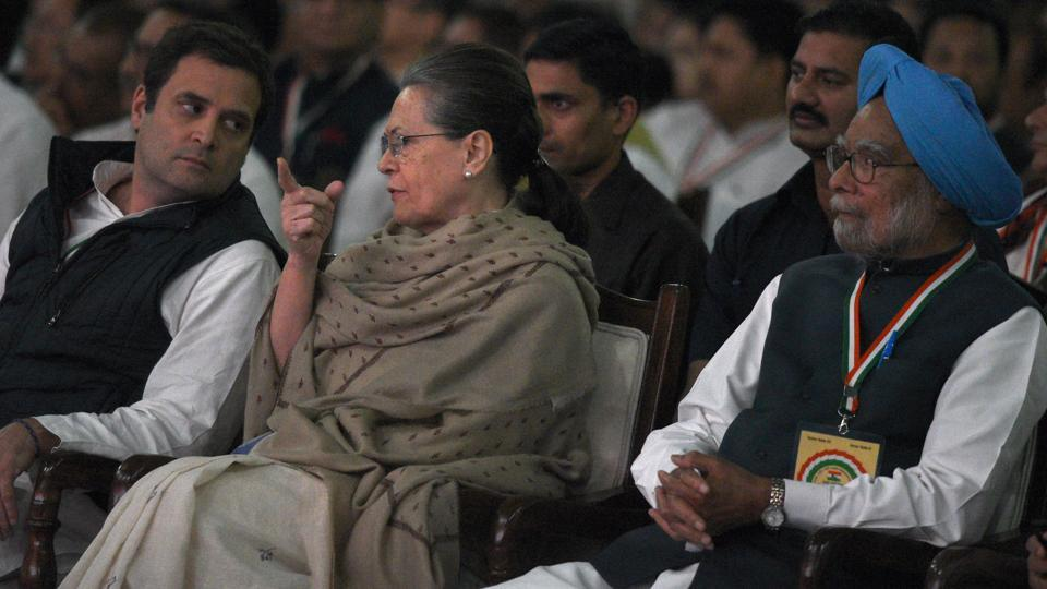 Congress president Rahul Gandhi with Sonia Gandhi and Manmohan Singh during the Indian National Congress 84th Plenary Session in New Delhi on  March 18.