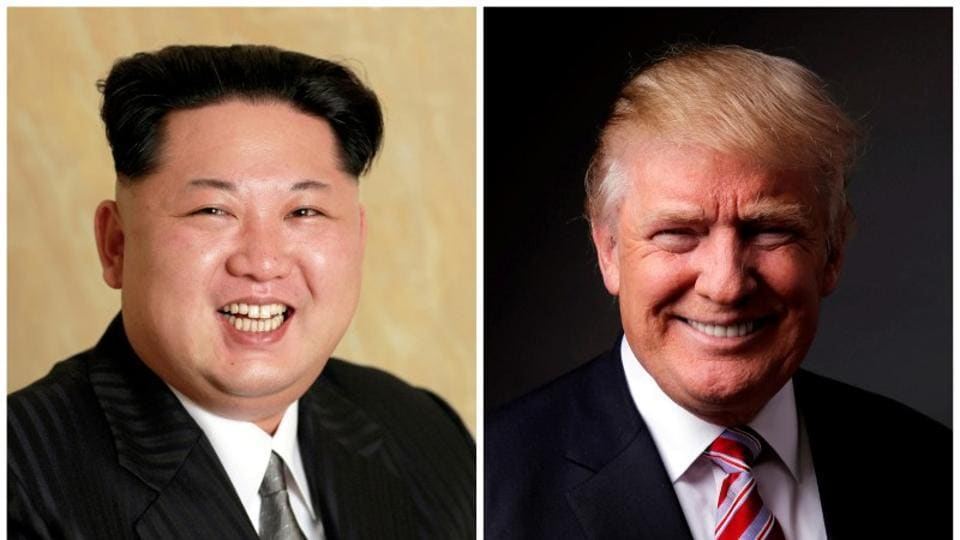 A combination photo shows a Korean Central News Agency (KCNA) handout of Kim Jong Un released on May 10, 2016, and Donald Trump posing for a photo in New York City, U.S., May 17, 2016.