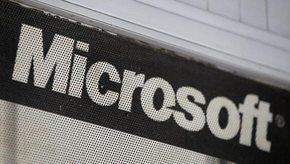 The Microsoft logo is pictured at a service centre in New Delhi.