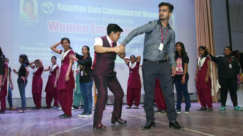 Self-defence  techniques being  demonstrated at a workshop on woman empowerment organised by the Rajasthan State commission for Women in Jaipur on Wednesday.