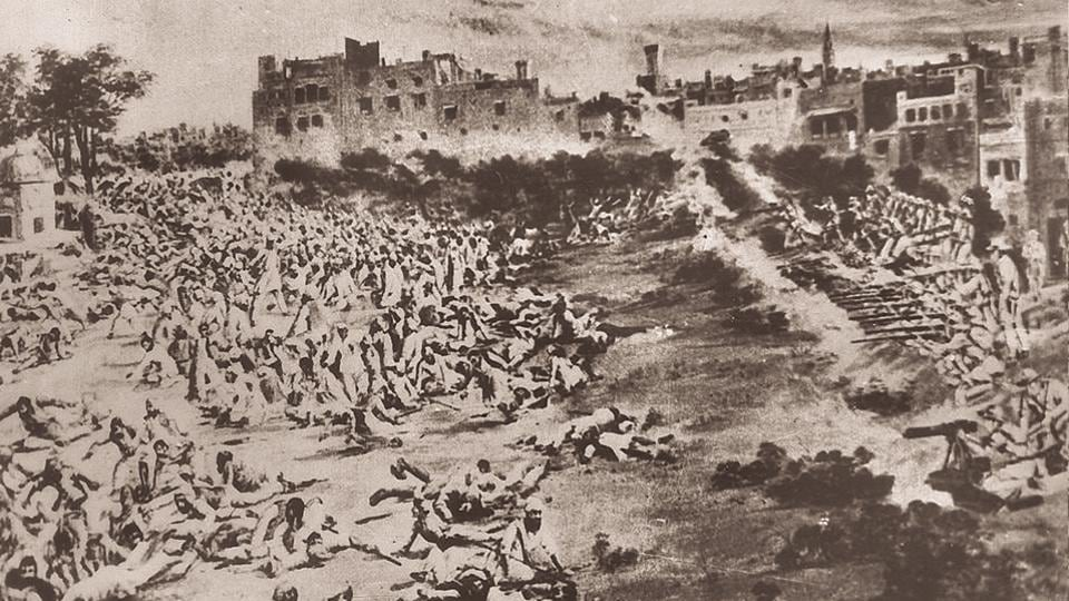 A painting depicting the Jallianwala Bagh massacre on April 13, 1919.